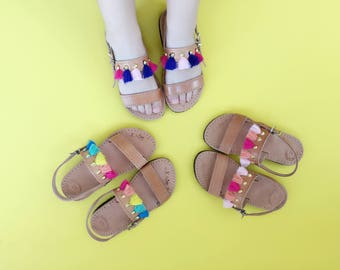 Child Double Strap Tassel Greek Summer Leather Sandals - with Short Tassel Colorful Embellishment