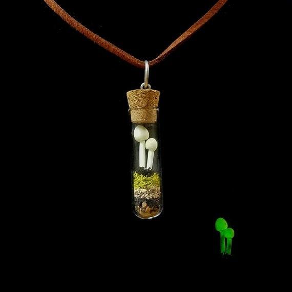Glow in the dark Mushroom necklace, Miniature Terrarium Jewelry, woodland Fairy Garden, psychedelic mushrooms, fungus Necklace Pendant