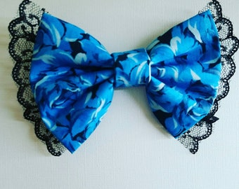 Blue Rose Bow with Lace