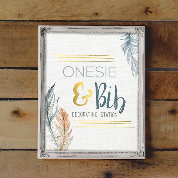 Onesie Decorating Station Sign Baby Boy Shower Activity Baby