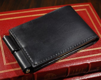 """Handmade Leather Case for 3x5"""" notepad, black leather wallet, vegetable tanned leather, reporter notebook cover"""