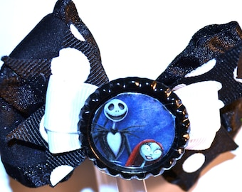 Jack and Sally Black and White Hair Bow