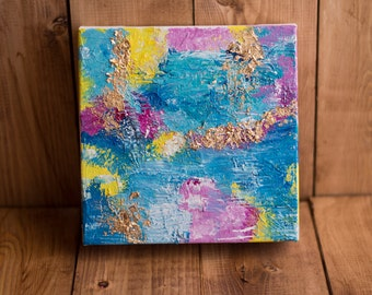 Addison | acrylic and gold foil abstract painting on 6x6 gallery wrap canvas | gold foil | gold leaf | abstract art