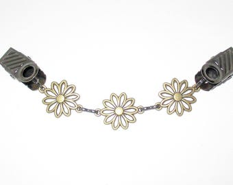 RTS Antique Brass Flower & Black Sweater Guard Collar Clip