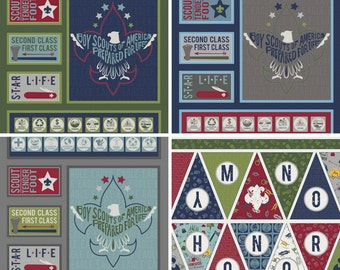 Modern Scouting Boy Scouts Fabric PANEL ~ Choose Color / Banner ~ Riley Blake 100% Cotton Fabric