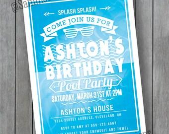 Pool Party - Birthday Pool Party - Pool Party Invitation - Birthday Pool Party Invitation - Pool Party Birthday