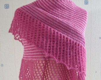 light pink/dark pink shawl, hand knitted, alpaca/silk