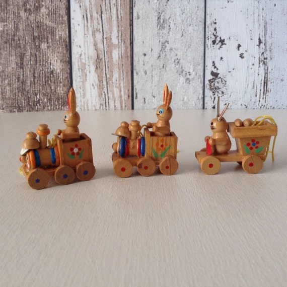 German wooden Easter train ornaments