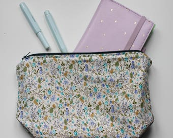 Big flower print cosmetic case cosmetic bag