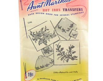 Aunt Martha's Hot Iron Transfers Poinsettia and Holly Uncut