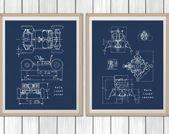 Blueprint art etsy space blueprints lunar rover and lunar lander set of 2 nasa blueprints malvernweather Gallery
