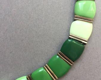 1920's Art Deco Green Glass &Chrome Necklace
