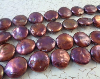 10 Copper Coin Shaped Freshwater Pearl Beads 12-13mm Round Flat Metallic Bumpy Coin Beads Pink Red Freshwater Pearl Beads Pink Red Orange