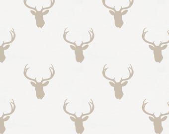 Taupe Deer Silhouette Organic Fabric - By The Yard - Boy / Girl / Gender Neutral