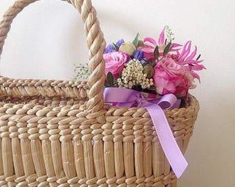 Straw bag Beach bag Straw basket bag Wicker bag Straw handbag Flower basket Ukrainian folk style
