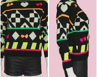 Vintage 90's Colorful Sweater Neon Color Checker Print Cute Sweater XS