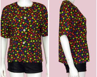 Polka Dot Blouse Vintage 80s Rainbow Color Top