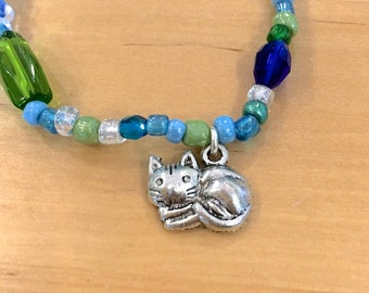 CRAZY Cat Lady BRACELET blue green glass beads Great gift for cat lover