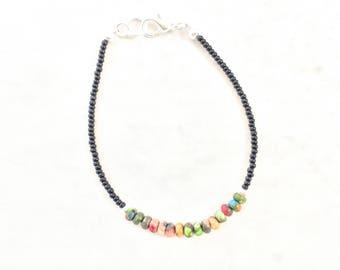 Mardi Gras JASPER BRACELET black beads tennis bracelet stacker bracelet slim bracelet colorful bracelet