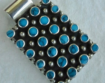 Vintage Mexico large pendant sterling silver with Bisbee turquoises