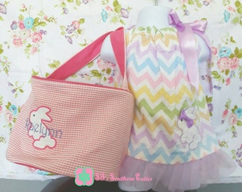 Monogrammed Easter Pillowcase Dress with Easter Basket
