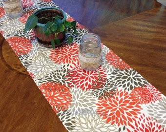 Floral Print Holiday Table runner.  Washable