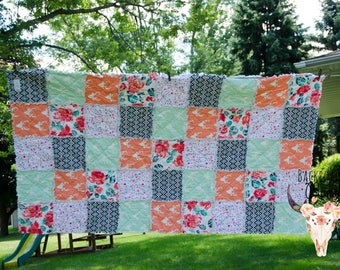 RV Bunk House Quilt - Custom made bunk bedding - Rag Quilt - Camping - Glamping - 5th Wheel - Travel Trailer - Bedding -