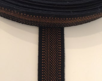 1 inch black elastic with brown dotted stripes, suspender elastic