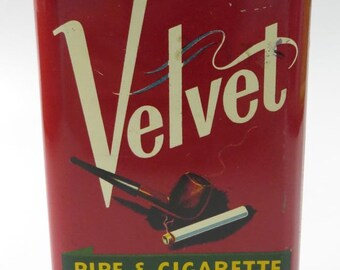 Velvet Pipe & Cigarette Tobacco Vertical Pocket Tin with Hinged Lid