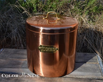Vintage Copper Cookie Canister - Brass Handle - Decoware