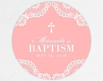 Baptism Favor Tag, Baptism Favor Label, Christening Favor Tag, Christening Favor Label, Printed, Floral, Damask, Lace, Girl, Pink, Miranda