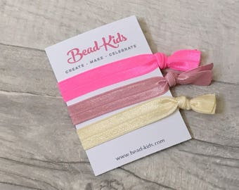 Pink Hair Ties, Elastic Hairbands, Party Bag Fillers, Party Favors, Yoga Bands, Elastic Bracelets, Hairties, Hair Accessories, Creaseless