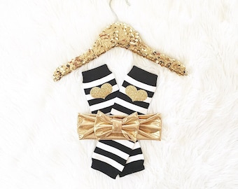 Baby girl Gold glitter striped leg warmers and/or headband