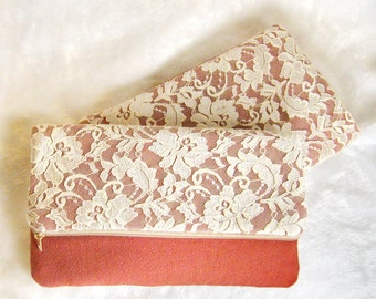 Set of 4 5 6 Personalized bridesmaid clutch, White Lace wedding clutch, foldover clutch purse, makeup pouch, rustic chic purses grey CL909