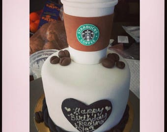 Starbucks cup cake topper