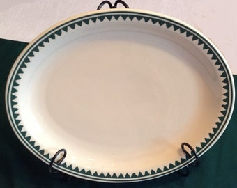 Homer Laughlin Restaurant Ware Platter - Green triangle Pattern