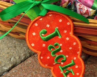 Carrot Easter Basket Name Tag Personalized, Embroidered, Appliqué