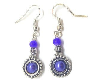 Purple Dangle Earrings, Purple Drop Earrings, Purple Earrings, Plum Earrings, Violet Earrings, Purple Pearl Earrings, Pearl Drop Earrings