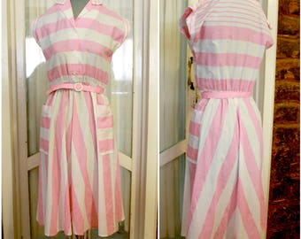 1980's Vintage Pink and White Striped Day Dress