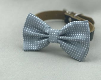 Silver Dots Bowtie for Wedding Dog Outfit Pet Wedding Gray Bow Tie Black Dog Collar