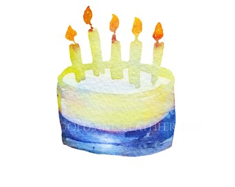 Blue Cake Design  Boys Birthday Clip Art Instant Download High Resolution for Cards Invites etc