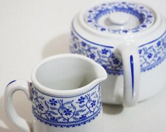 Dunn Bennett & Co Ltd Burslem un Pot théière et pot à lait - bleu et blanc
