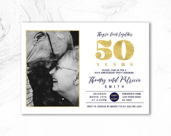 50th Wedding Anniversary Invitation, 25th Anniversary Party Invites - Vow renewal invitation - ANN01 Gold & Navy