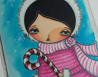 Christmas Girl with candycane Original mixed media painting 4x6 by Megan