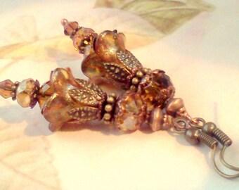 Vintage Style Earrings, Victorian Earrings, Renaissance Earrings, Boho Earrings, Vintage Flower Earrings, Flower Earrings, Hand Painted