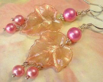 Lucite Leaf Earrings, Hand Painted Earrings, Handmade Earrings, Boho Earrings, Cottage Chic, Leaf Dangle Earrings, Peach Earrings