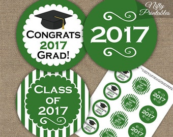Green Graduation Cupcake Toppers - Printable 2017 Graduation Decorations - Green White Class of 2017 Graduation Party Printable