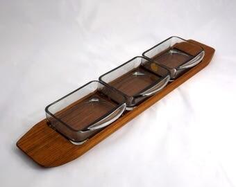 "Danish Snack Tray Set, Holmegaard ""Cabaret"", Teak Tray, Glass Dishes, Mid Century Modern, 1950s Vintage Serving, Scandinavian Design Denmark"