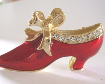 Holiday Red Shoe Brooch,Lapel Christmas Shoe Pin