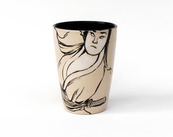 French handmade mug Samourai & Concubine